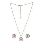 Modern Rhodium plated Austrian Crystal Peony Necklace
