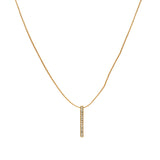 Stylish Gold Plated Crystal Bar Pendant with chain