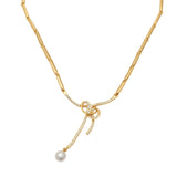 Modern Gold plated Beautiful Bowline Necklace