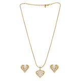 ESTELE - Valentine Special - Stylish Gold and Silver plated Blissful Pearl Heart Necklace
