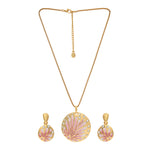 Stylish Gold plated Pink enamel Aster Necklace