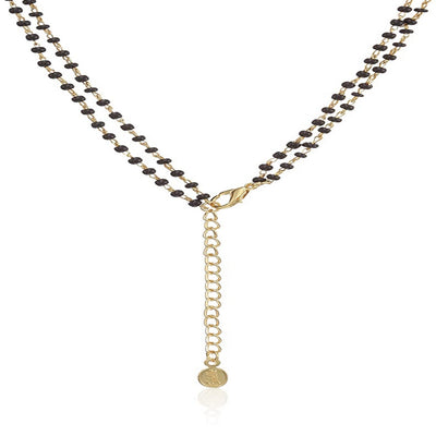 Estele 24 Kt Gold and Silver Plated Butterfly Double Line Mangalsutra Necklaces
