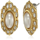 Estele 24Kt Gold Plated Flower Shaped Stud Earrings with Grey round Stone and Austrian Crystals for Women