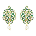 Mirror Kundan Green enamel Earrings