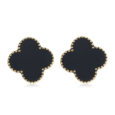 Black Enamel Earrings Combo Set