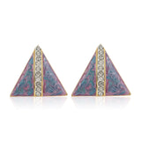 Colourful Antique Enamel Geometric Studs