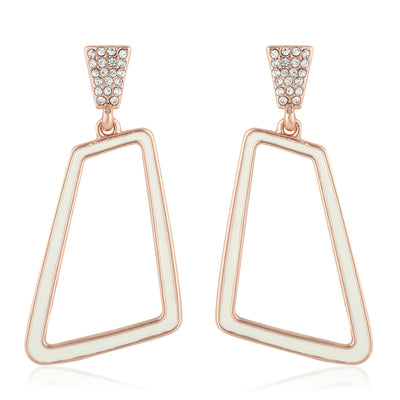 Elegant Rose Gold & Enamel Party Earrings Set
