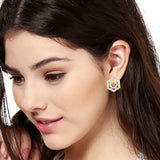 White And Pink Ad Stone Stud Earrings for Women