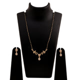 Estele 24 Kt Gold Plated Flower Drop Mangalsutra Necklace Set