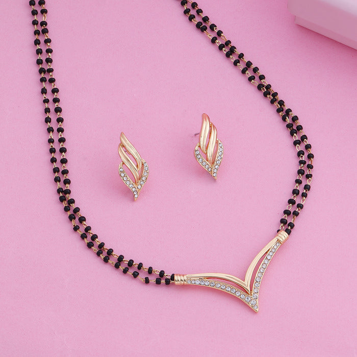 Estele 24 Kt Gold and Silver Plated Flighting Mangalsutra Necklace Set