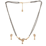 Estele 24 Kt Gold Plated Twine Braid Mangalsutra Necklace Set