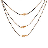 Estele 24 Kt Gold Plated Triple Layer Bead Mangalsutra Necklace Set