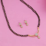 Estele 24 Kt Gold Plated Flower Double Line Mangalsutra Necklace Set