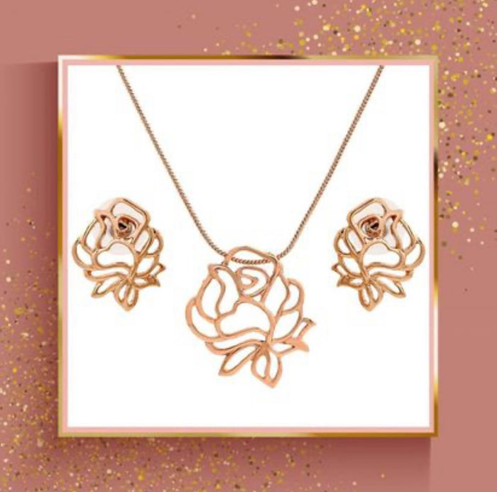Estele - 24 Kt Rose Gold Plated FLOWER Pendant Set for women