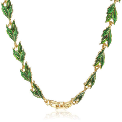 Estele 24 Kt Gold Plated Flower leaf in Green Enamel Necklace for Women