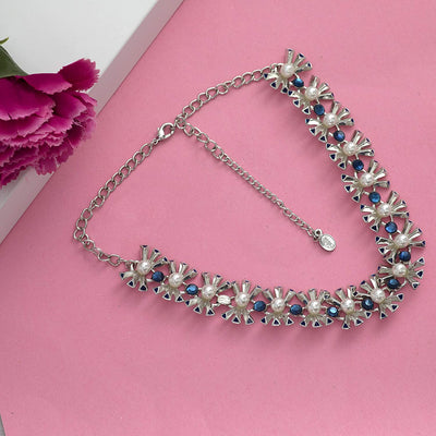 Estele Rhodium Plated Blue Marquise crystal enamel  Chain Necklaces