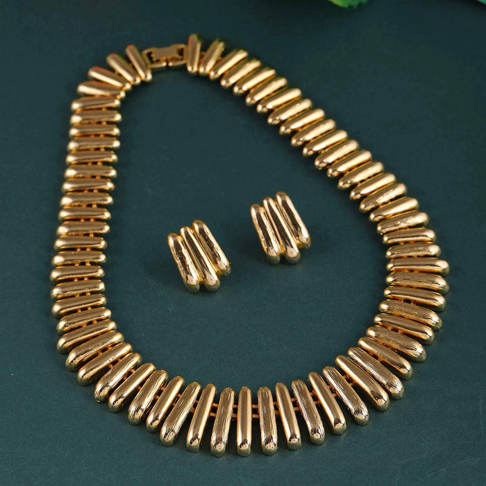 Estele 24 Kt Gold Plated Link capsule Necklace