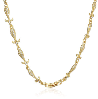 Estele 24 Kt Gold Plated Designer American Diamond Necklace for Women