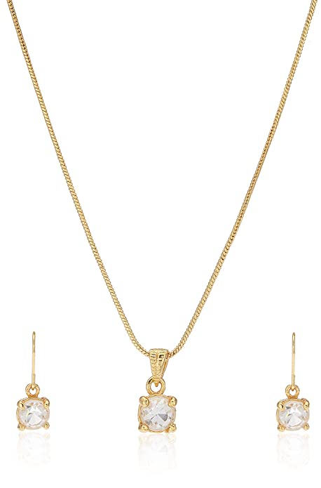 Estele - 24 KT Gold plated pendant Set with American Diamonds for Women