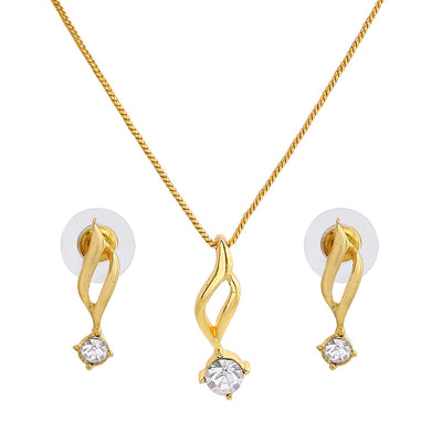 Estele - 24 KT Gold plated Necklace Set with American Diamonds for Women