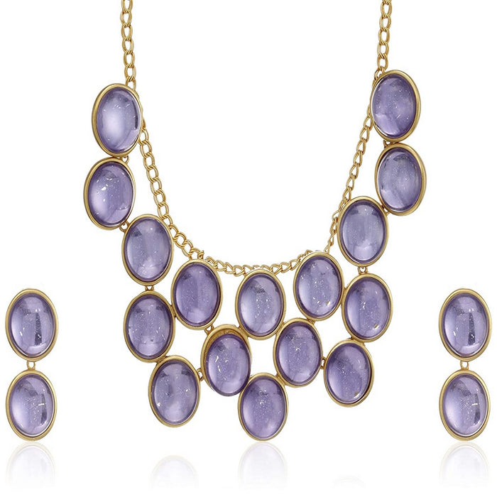 Estele 24 Kt Gold Plated with Purple Galaxy Stones Necklace Set for Women