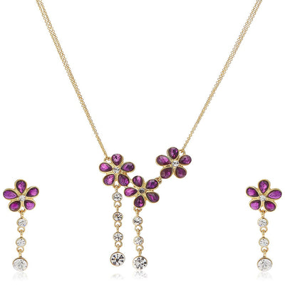 Estele 24Kt American Diamond Gold Plated Necklace Jewelery Set For Women