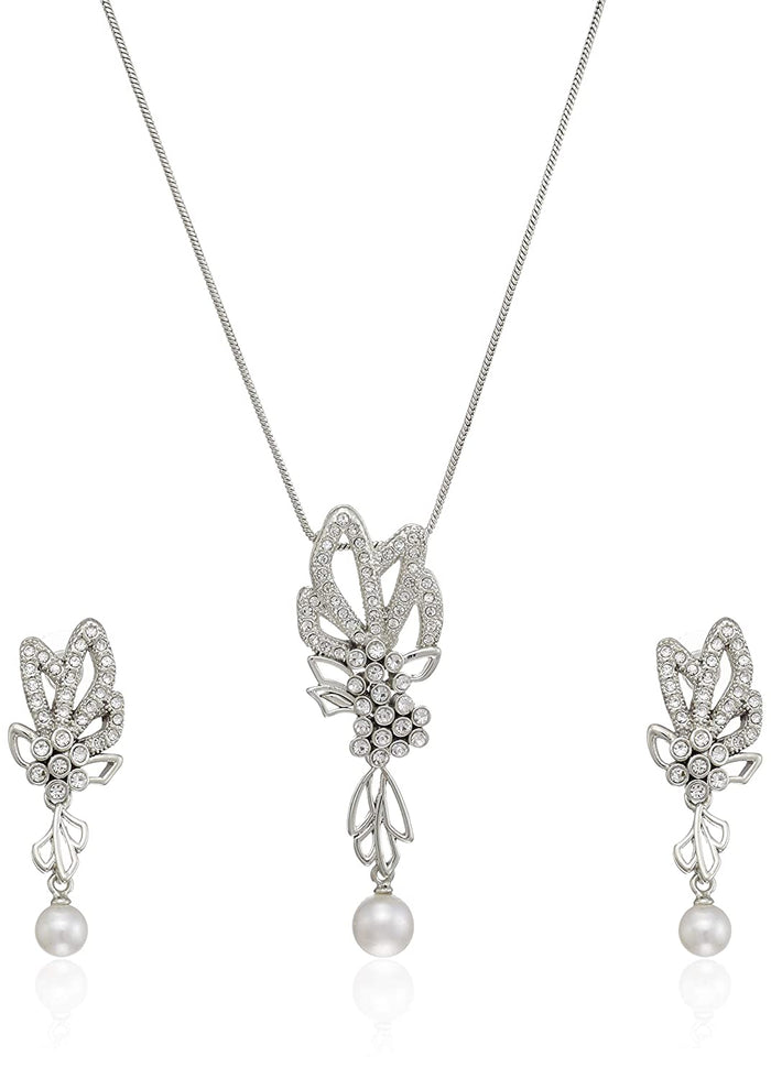Estele Rhodium Plated with Pearl Drop Necklace Set for Women
