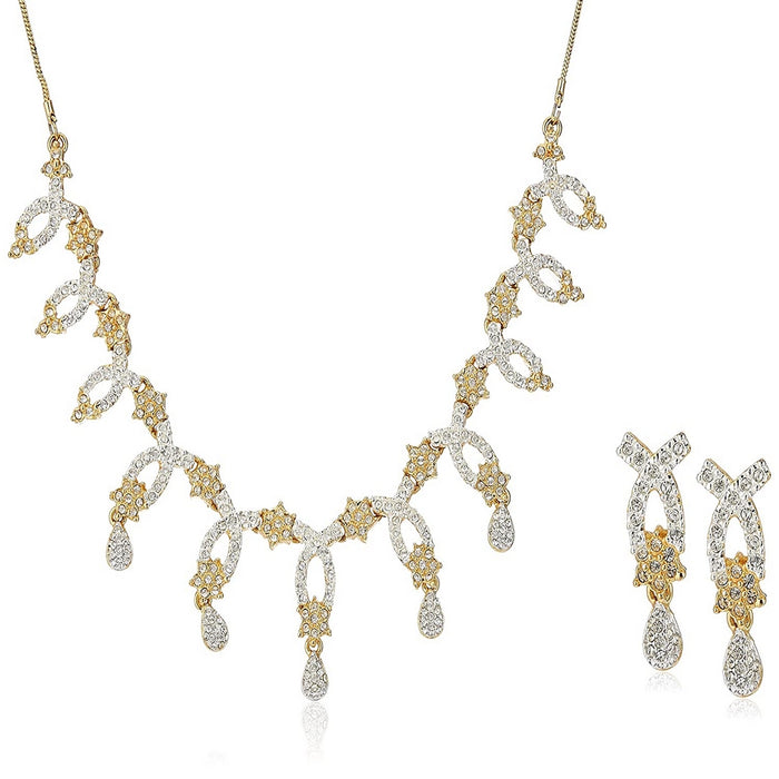 Estele 24 Kt Gold Plated American Diamond Necklace with Earrings Jewellery for Women & Girls