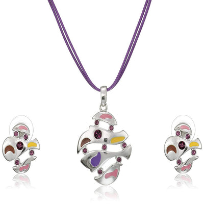 Estele Silver Plated Abstract Shape with Enamel and Austrian Crystal Necklace Set for Women