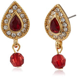 Estele - 24 kt Red Stones and White Pearls 3 layer Haar with Jadau