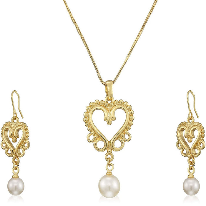 Estele Gold Plated Heart Shape with Pearl Drop Necklace Set for Women