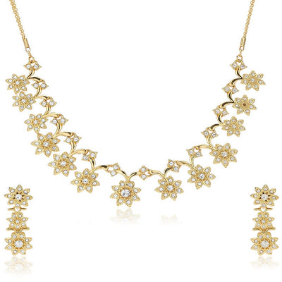 Estele 24 Kt Gold Plated Flower linked with Austrain Crystal Necklace Set for Women
