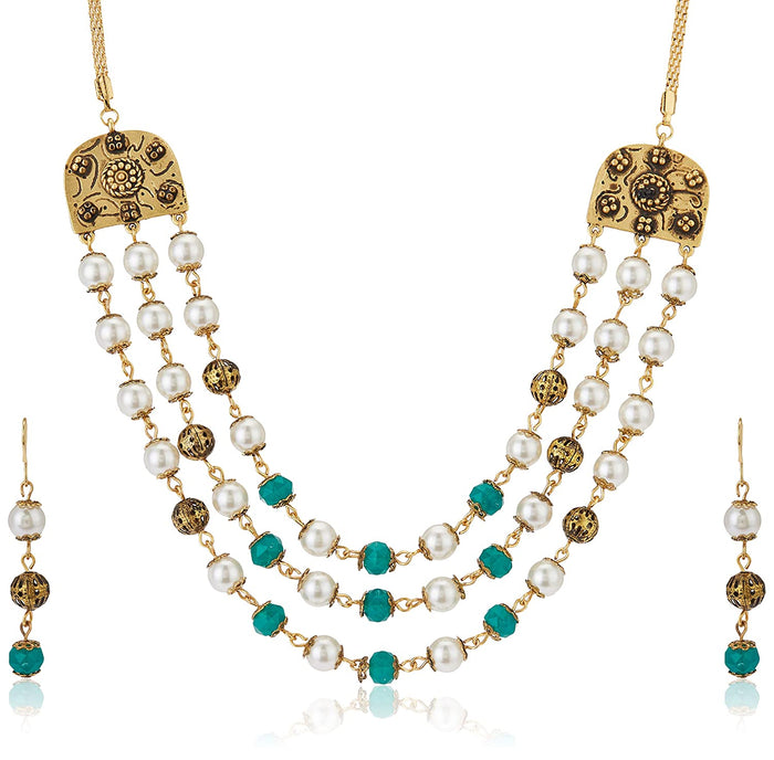 Estele Gold Plated Wedding Jewellery Multi-String Necklace Set for Women