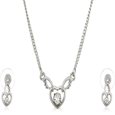 Estele - Valentine Special - Sparkling Gold Plated Wedding Jewellery Austrian Diamond Pendant Set For Women & Girls