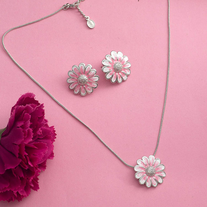 Estele Rhodium Plated enamel flower Pendant Set for Women