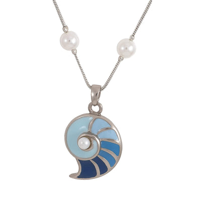 Estele Rhodium Plated Shell of Blue Chain Necklaces