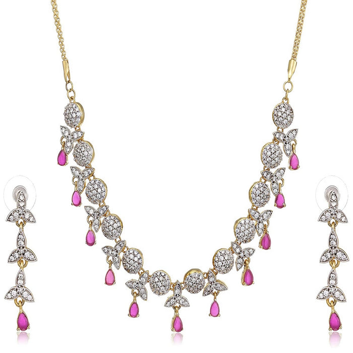 Estele - Fancy Fashion Jewelery Necklace Set with American Diamonds and Ruby stones for Women