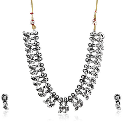 Estele 24 kt Antique German Silver Oxidised Plated Necklace Earring Set for Womens