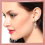 Enamel with Crystal white stone round drop Earrings