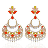 Bollywood style chandbali, Long fashion earring in colourful orange yellow and peach.