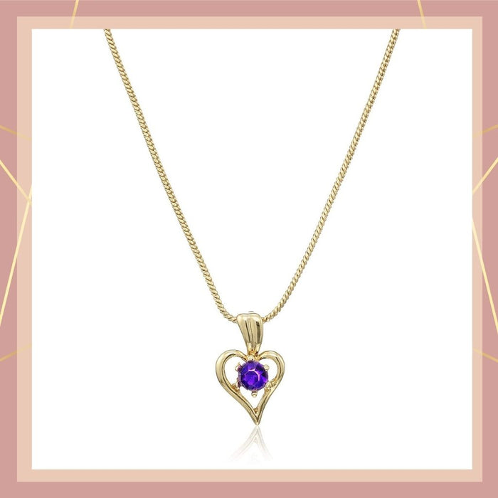 Estele Gold Plated Heart Shaped Pendant with Fancy Blue Austrian Crysatal for Women