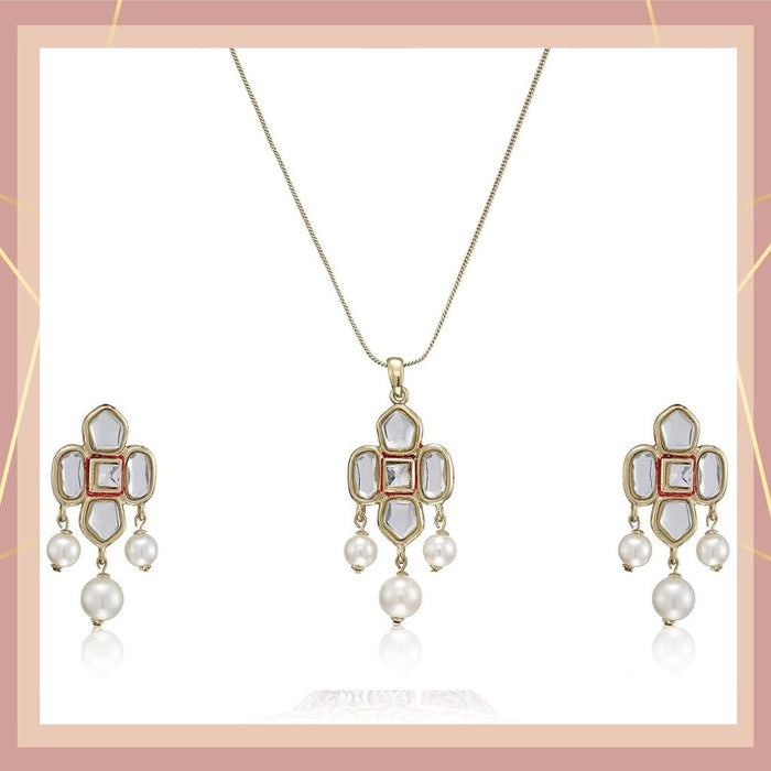 Estele 24 Kt Gold Plated Kundan with Pearl Drop  Necklace Set for Women