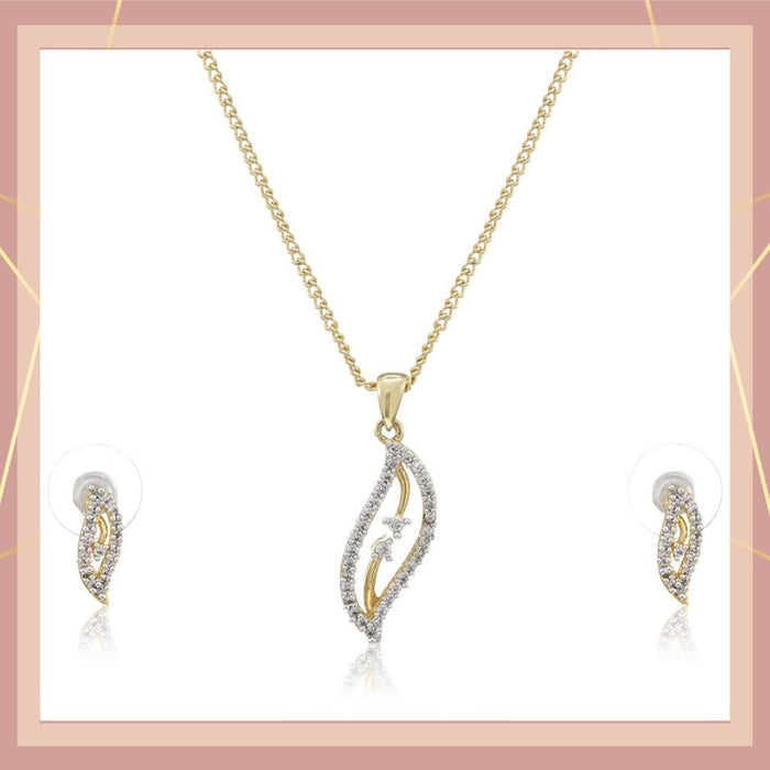 Estele 24 Kt Gold and Silver Plated CZ Leaf  Chain Necklaces