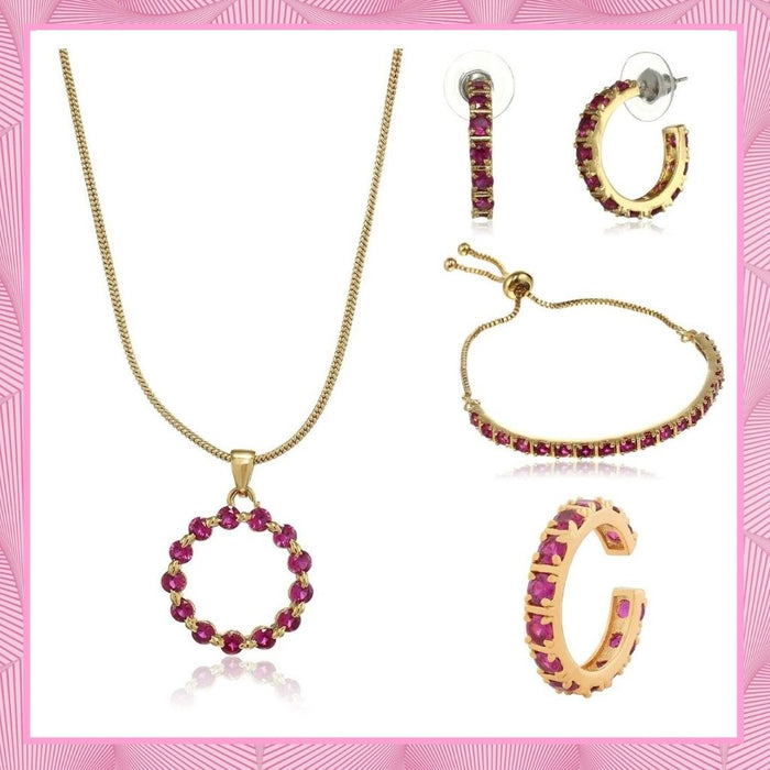 Valentine Day Gift For Girlfriend: Estele 24 karat Gold Plated Exquisite Ruby Crystal Pendant Ring Bracelet and Earrings Combo for Girls