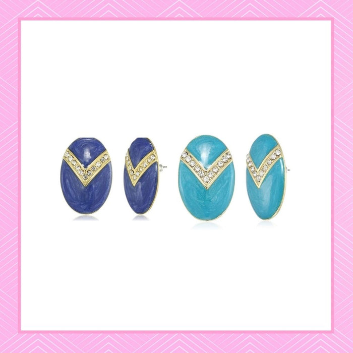 Estele Valentines Day Special Earrings - Stud Earrings For Girls & Women(AQUA & BLUE)