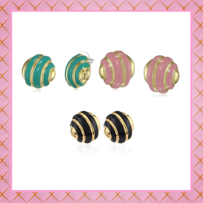 Estele - Enamel and Gold Plated  Round Stud Earrings For Girls & Women