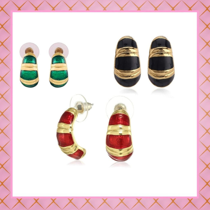 Estele - Enamel and Gold Plated  Hoop Earrings For Girls & Women