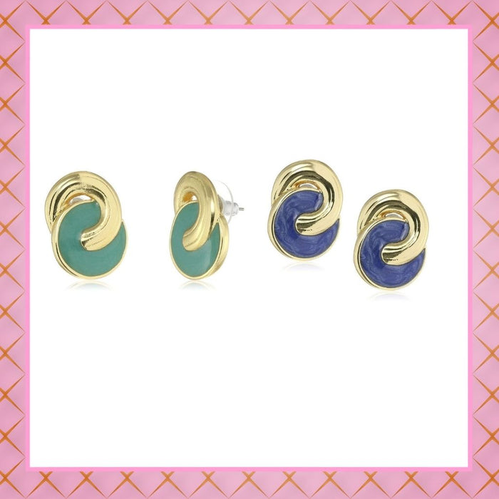 Estele Valentines Day Special Earrings - Gold Plated Enamel Round Stud Earrings For Girls & Women(RED & BLUE)