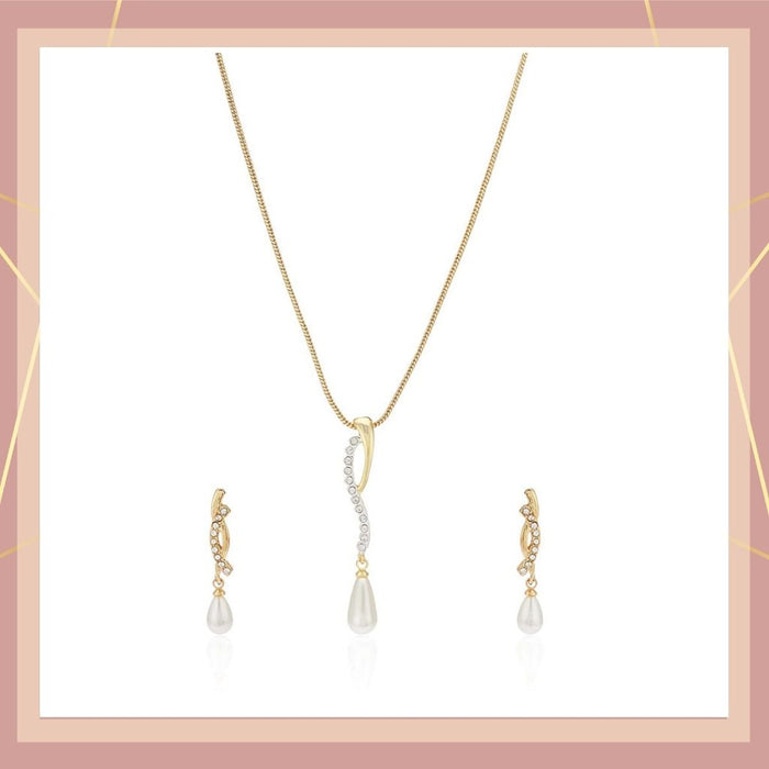 Estele  Gold Plated Pearl Drop Chain Necklace Set for Women