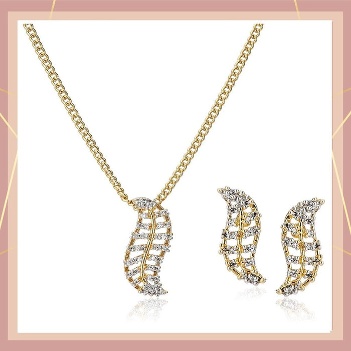 Estele - Gold plated Necklace Set with American Diamonds for Women